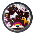 4 Pcs Knobs Drawer knobs Cupboard Cabinet Handle Drawer Pull Handle with Screw and Drawer Handles,Cartoon Unicorn Rainbow Clouds Love Pattern