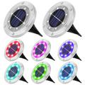 SOLLED 8 Packs Solar Ground Lights Outdoor Solar Lights with 7 Colors Changing, Waterproof 8 Led Beads Solar Powered Garden Disk Lights In-ground Landscape Lighting for Deck Yard Pathway Driveway