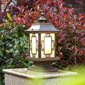 NZDY Bracket Light Traditional Chinese Style Outdoor Post Light Fixtures, 1-Light Pillar Light in Bronze Finish with Matte Glass Column Lantern Waterproof Courtyard Street Light Stainless Steel Brack