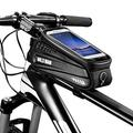 Number-one Bike Frame Bag Waterproof Bike Phone Mount Bag, Bicycle Front Frame Bag, Bike Handlebar Bag with Touch Screen Headphone Hole Phone Holder for Cellphones up to 6.5 Inches