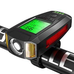 Upgrade Bike Lights Set, USB Rechargeable 5 Light Mode Super Bright Bicycle Headlight and Taillight, IPX4 Waterproof with Wireless Speedometer Odometer Fits All Bicycles (Black)