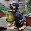 YONGMEI Solar Statue Garden Ornaments Solar Dogs Statue, Waterproof Resin Dog Sculptures LED Outdoor Dog Ornament with Lantern Solar Light in Mouth for Patio, Lawn, Yard (Color : A)
