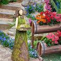 Best Bird Feeder Figurines Hummingbird Feeder for Outdoors Fairy Garden Kit Accessories Spring Garden Sculptures Bird Feeder Art for Patio Yard Home Decor (11.8X3.9 in)