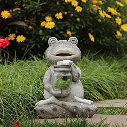YONGMEI Solar Statue Garden Ornaments Solar Frog Garden Statue, Outdoor Solar Frog Ornaments, Waterproof Resin Sculpture for Patio, Lawn, Yard, Balcony