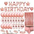 Fghuim Birthday Party Decoration Happy Birthday Banner Balloons Fringe Curtain Foil Tablecloth Heart Star Foil Confetti Balloons and 10g Table Confetti for Man Women Birthday Party (Rose Gold)