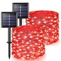 JMEXSUSS Red Valentines Lights, 2 Pack Each 66ft 200 LED Solar String Lights Outdoor Waterproof, 8 Modes Silver Wire Solar Fairy Lights for Anniversary Party Patio Garden Yard Christmas