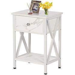 VECELO Modern Night Stand Drawer Versatile Nightstands Lamp Side/End Storage Shelf Table for Living Room Bedroom, White