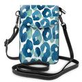 IBILIU Leopard Skin Crossbody Cell Phone Purse for Women Men,Animal Skin Animal Print Blue Green PU Leather Crossbody Phone Pouch Phone Bag