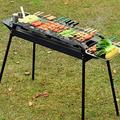 GANFANREN Portable Stainless Steel Charcoal Barbecue Grill with Heavy Duty BBQ Grill Tool Set with Cooler Bag for Men in Aluminum Case