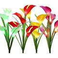 ALokik Solar Garden Stake Lights, 4Pcs Outdoor Waterproof Solar Powered Lights with 12 Calla Lily Flowers, 7 Colors Changing LED Solar Lights for Garden, Patio, Backyard (4pcs)