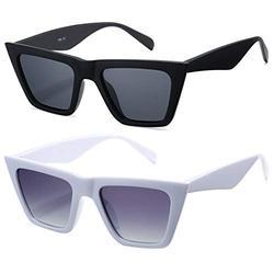 Retro Cat Eye Polarized Sunglasses for Women Men Trendy Square Shades Style (Matte Black Frame/Grey Lens +White Frame/ Gradient Grey Lens)