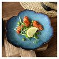 Dinner Plate Creative Mori Girl Ceramic Tableware Peacock Blue Lotus Plate Western Food Plate Steak Plate Salad Plate Breakfast Plate Flat Plate Plate (Color : 11 inches)