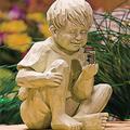 Efitty Boy Girl with Garden Solar Fireflies, Boy Girl Statue Whimsical Glimpses of God Statue, Spring Yard Decor,Decorative Statue Under The Tree Statue with Closed Eyes Holding Fireflies Lights (Boy)