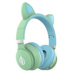 Wireless Bluetooth Kids Headphones, Cat Ear Bluetooth Wireless Headphones,LED Light Up Kids Wireless Headphones Over Ear with Microphone - Green