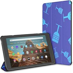 Kindle Case Pu Leather Smart Cover Blue Medieval Goblet Icon Isolated Seamless Case for Kindle Fire Hd 10 Kindle Fire Hd 10 Inch Tablet Case(9th Gen 2019/7th Gen 2017) with Auto Wake/Sleep