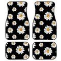 KUILIUPET Floor Mats for Cars, Automotive Heavy Duty Floor Mats, White Daisy On Black Background Pattern Print Anti-Slip Rubber Floor Mats, Set of 4 Car Floor Carpets, Universal Floor Mats for Auto