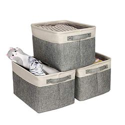 Lukeline 3-Piece Set of Large Cube Foldable Shelf Baskets with Handles for Bedroom, Office,Room Organizers and Storage Baskets, Toy Storage, Nursery, Grey