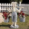 ZMCY Martin Garden Statue, Flowers for Felicity Little Girl Garden Statue, Design Toscano Flowers, for Felicity Garden Sculpture in Stone. Yard Decor, Yard Art, Garden Figurines Outdoors.