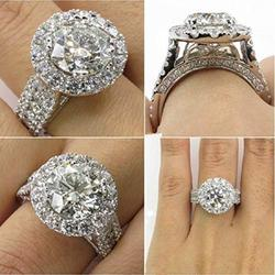 Zhiwen New Princess Elliptical Simulation Diamond Studded with Diamond Ring 4ct Zircon Diamonds Stone 925 Sterling Silver Engagement Promise Rings Anniversary Wedding Bands for Women (Size 8)