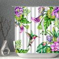 AMNYSF Floral Shower Curtain Spring Summer Flower Hummingbird Purple Calla Lily Lotus Orchid Green Leaf Decor Fabric Bathroom Curtains,Waterproof Polyester with Hooks 70x70 Inch