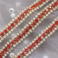 Xuccus 3 Rows Colorful Rhinestone Cup Chain sew on Rhinestone Trim Silver or Gold Base DIY Clothing Bags Shoes red Blue sew on Stones - (Color: red Gold Base)