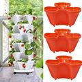 Stand Stacking Planters Strawberry Planting Pots, Herb Planter Box, Vertical Gardening Indoor/Outdoor Stacking Garden Pots, Premium Planter Flower Plant Pot with Tray (3 Planters, Red)