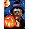 DIY 5D Diamond Painting by Number Kit,Dog Halloween Animal Full Drill Round Crystal Rhinestone Embroidery Cross Stitch Diamond Embroidery Arts Craft Dot Kit for Home Wall Decor Gift 11.8x15.8 Inch