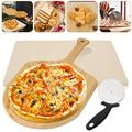 "Litputy 3 Pieces Pizza Stone Set, 15"" Pizza Stone for Grill and Oven with Bamboo Pizza Paddle Peel and Pizza Wheel Cutter Round Knife, Best for Baking and Serving, Pies, Pastry Bread"