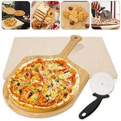 """Litputy 3 Pieces Pizza Stone Set, 15"""" Pizza Stone for Grill and Oven with Bamboo Pizza Paddle Peel and Pizza Wheel Cutter Round Knife, Best for Baking and Serving, Pies, Pastry Bread"""