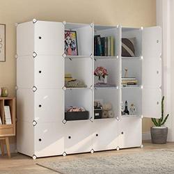 "MAGINELS Large Cube Storage - 14""x18"" Depth (16 Cubes) Organizer Shelves Clothes Dresser Closet Storage Organizer Cabinet Shelving Bookshelf Toy Organizer, White"