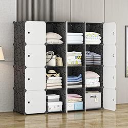 "MAGINELS Large Cube Storage - 14""x18"" Depth (16 Cubes) Organizer Shelves Clothes Dresser Closet Storage Organizer Cabinet Shelving Bookshelf Toy Organizer, Black"