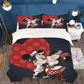 King Bedding Mickey Mouse Minnie Mouse Bedding Set Bed Set for Boys Girls Teens Tollders, Mickey Mouse Bedding Duvet Cover Bedspread Qulit Cover King