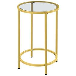 Topeakmart Round Glass-Top End Table Nightstand,Metal Living Room Sofa Side Table w/ 16in Dia Tabletop Areas & Tempered Glass Surface & Hold up to 88lb & Easy Assembly