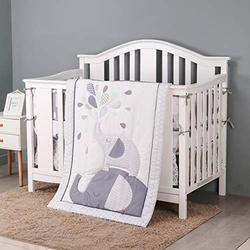 HUPO Jungle Elephant Crib Bedding Sets for Baby Boys and Girls,3 Piece Crib Bedding Set ,Grey/White Crib Set,Unisex Nursey Cot Bedding and Neutral Decoration
