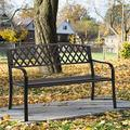 50-Inch Park Bench Garden Bench Outdoor Patio Metal Benches Clearance Yard Porch Bench Chair with Steel Frame, Outdoor Bench Furniture for Backyard Entryway Deck Lawn, Black