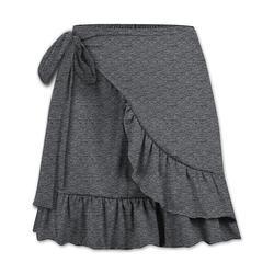 UDEAR Women's Casual Skirts Dark - Dark Gray Ruffle-Trim Wrap Skirt - Women & Plus