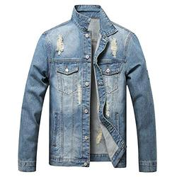 LUCKAMILEE Jean Jacket for Men,Ripped Loose Distressed Trucker Denim Jacket Coat (Small, Blue-02)