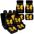 Sporthere Back Seat Cover and Floor Mats Yellow Butterfly Design Full Set 8-pcs, Stretchy Soft Car Front Seat Covers Back Seat Protector Split Bench Cover + Car Floor Mat Set of 4 Heavy Duty No-Slip