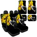 Sporthere Sunflower Cow Universal Car Seat Cover with Floor Mats Full Set,Rear Backrest Cover,Back Seat Cover Split Bench,Car Seat Cover Driver and Passenger for Sedan SUV Truck