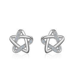 VERTICE Women's Silver Earrings Stud Earring Fashion Sterling Silver Jewelry S925 Silver Simple Pentagram Ear Stud Earring Silver, 925 Silver