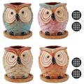 """3.2"""" Owl Succulent Planter Garden Pots with Bamboo Tray Set of 4,Printing Ceramic Indoor Succulent Pot.Mini Garden Cactus Pot,Gift for Mom Sister Aunt for Home Office Garden Decoration"""