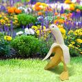 Funny Banana Duck Statue Creativity Duck Banana Ornament for Garden Yard Art Outdoor Indoor Decoration,Cute Whimsical Peeled Banana Duck Welcome Decor (A)