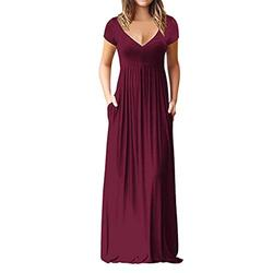 FRSH MNT Maxi Dresses for Women,Ladies Casual Loose Short Sleeve Long Dress Short Sleeve Summer Dresses for Women with Pockets