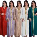 AB034 – Robe en velours à capuche pour femmes, vêtements européens musulmans, broderie Jalabiya,