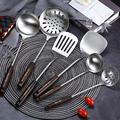 EODNSOFN 304 Stainless Steel Wooden Handle Spatula Soup Spoon Home Kitchen Cooking Shovel Set Colander Frying Shovel Factory Wholesale