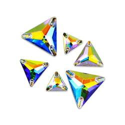 DONGZHOU Triangle Shape Sew On Rhinestones Flatback Sew Crystals Fancy Crystal Gems AB Sew on Rhinestones Glass Sewing Stone for DIY Crafts, Costume, Clothes,Bikini, Bags, Shoes and Jewelry Making