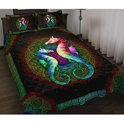 Personalized Seahorse Quilt - Rainbow - Colorful Quilt Quilt Patterns All-Season Quilts Comforters with Cotton - King Queen Twin Size Beach Trips, Gifts Quilt