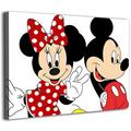 Wall Mural Canvas Wall Pictures Mickey Minnie Mouse Back to Back Wall Art Modern Family Bedroom Decoration Poster 16x12inch