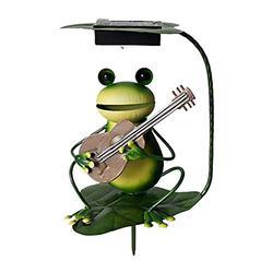 Antetek LED Frog Garden Light, Solar Lawn Lamp Frog Statue Figurine Decor for Yard Lawn Patio Decoration(Frog Bomb Guitar)