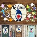 Welcome Sign Front Door Decor, Interchangeable Seasonal Welcome Sign, Removable Round Card Combination, Wooden Faceless Dwarf Hanging, Holiday Christmas Easter Decorations, Hanging Porch Decor (K)